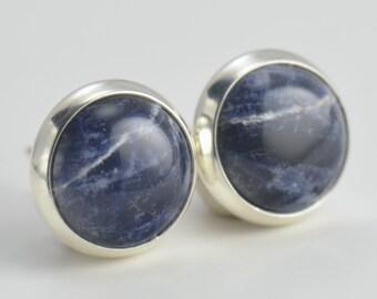 blue sodalite 8mm sterling silver stud earrings