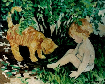 Art Print of my original acrylic painting,Cat and Child-Fine Art,Wall Art Decor,Cute Picture,Yellow Tabby Cat,Patty Fleckenstein