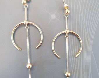 glam crescent moon asymmetric gold earrings, dangle drop gold earrings