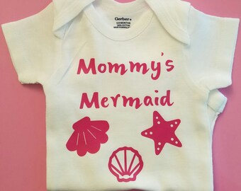 Mommy's Mermaid Baby Clothes, Beach Baby Clothes, Baby Shower, Baby Girl Clothes, Seashell Baby, Mermaid, Mermaid Baby Clothes, Mermaid