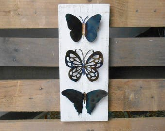Butterfly Metal Art on Pallet Wood Wall Decoration Reclaimed