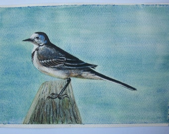 White ballerina bird watercolor on original painting paper
