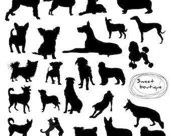 Dog silhouette, Digital dog Clip Art, Digital ClipArt, Animal Clip Art, animal silhouette clip art, Dog cliparts, Silhouettes Clip art 0895