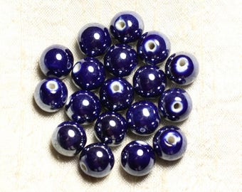 4pc - beads ceramic porcelain balls 14 mm blue iridescent - 8741140014022