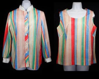 10 DOLLAR SALE---Vintage 70's 2 Piece Set Multicolor Striped Jacket & Tank Top L