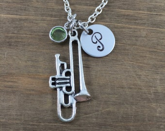 Personalized Trombone Necklace - Hand stamped Monogram Trombone Necklace - Initial, Birthstone Necklace - Orchestra Member Necklace