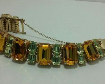 Coro Rhinestone bracelet. Vintage. Topaz color.