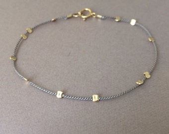 Gold Bead GRAY Silk String Bracelet also in Sterling Silver and Rose Gold Fill