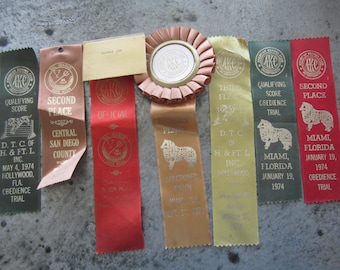 Vintage AKC Dog Ribbons Set of 7 Multi-Colored 1970's Dog Show Ribbons