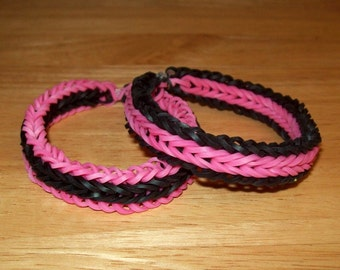 Rainbow Loom Rubber Band Bracelets, Fishtail with Border, Pink and Black, Set of 2