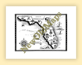 Gulf states map etsy florida vintage 1960s illustrated map digital download state wall art do it yourself solutioingenieria Images
