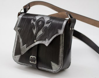For The Horde-Leather bag-FREE Shipping-World of Warcraft-Leather purse-WOW-tooled leather purse-GEEK leather bag