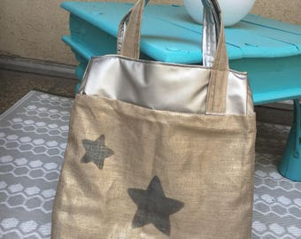 Linen Tote gold and silver faux