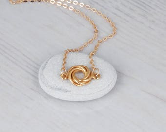 Gold Circle Necklace, Delicate Rose Gold Necklace, Infinity Circle necklace, Karma Necklace, Silver Circle Necklace, Tiny Sideways Necklace