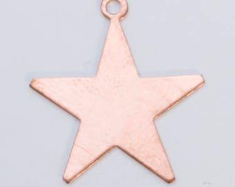 "TEN Copper STARS w/ring 24 gauge 1"""