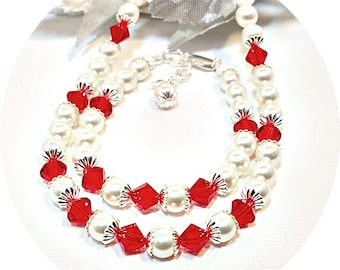 Red Necklace and Bracelet,  Pearls,  Flower Girl Jewelry, Toddler, Kids Jewelry, Pageant, July Birthstone, Ruby Red, Apple Red. Holiday Gift