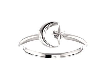 14k Gold Moon and Star Ring - Solid Gold Crescent Moon, Starburst. 14k, 18k Yellow, Rose, White Gold & Platinum. Celestial, Stars Jewelry