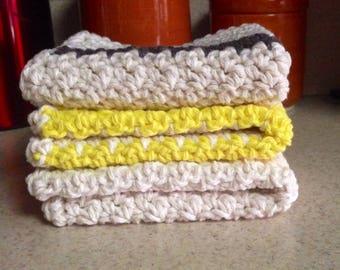 Crochet Dishcloth, Crochet Washcloth, Set of 3