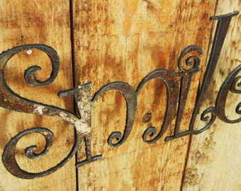 Smile, Metal Word Art for Indoors or Outoors