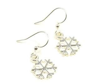 Snowflake Earrings Silver Snowflakes Snowflake Jewelry Snow Earrings Love Snow Gift Holiday Earrings Charm Earrings Dainty Snowflake CE08