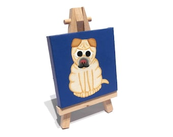 Cream Shar Pei Dog original miniature art - small acrylic painting of a cute Chinese Shar-Pei on blue, mini canvas art with easel or hanging