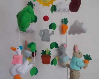 READY TO SHIP Baby crib mobile Peter rabbit garden,fairytales mobile mobile hanging baby mobile crib mobile nursery mobile custom mobile