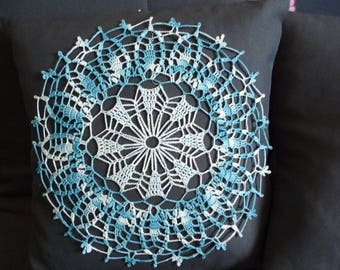 Crochet doily handmade cotton blue pastel nuanced and turquoise blue shade.