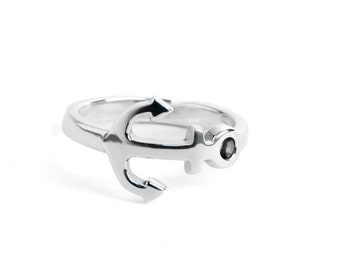 """Ring anchor marine """"My Anchor Holds"""" in sterling silver"""
