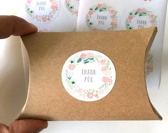12  thank you stickers - thank you label - floral wedding favor sticker - wedding favors - envelope seals - gift wrapping stickers - flowers