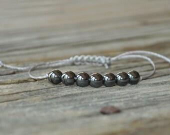 Hematite Yoga Bracelet, Base Chakra, Focus Bracelet, Courage Meditation, Minimalist Jewelry, Meditation Bracelet, Stack Bracelet