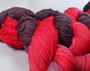 Bang Bang on Gold Sparkle SW Merino Nylon Stellina Hand dyed fingering weight sock yarn