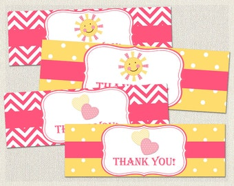 Yellow Goodie Treat Bag Toppers Birthday My Little Sunshine Pink 1st 2nd 3rd Printable Girls IV-11
