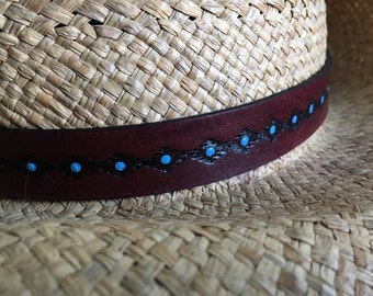 Hat Band Leather Hat Band Cowboy Hat Band Mahogany Brown or Distressed Java and turquoise - Love That Leather