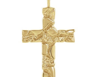 14K Gold Nugget Cross Necklace