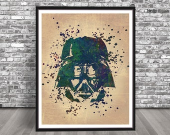 Vintage Darth Vader Watercolor Print, Star Wars watercolour, Jedi painting, Anakin Skywalker painting, Illustration poster, Empire Print Art
