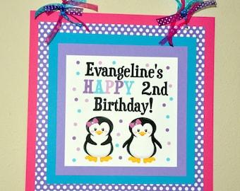Penguin Door Sign. Welcome Sign. Birthday. Door Sign. Choose Girl or Boy