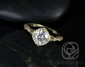 Rosados Box Quinn 7mm 14kt Yellow Gold Round F1- Moissanite and Diamond Kite Halo WITHOUT Milgrain Engagement Ring