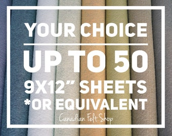 35-50 Wool Felt Sheets, Wool Blend Felt, Choose Your Own Colours, Wool Fabric, Nonwoven Fabric, Merino Wool, 9x12 Sheets, 12x18 Sheets