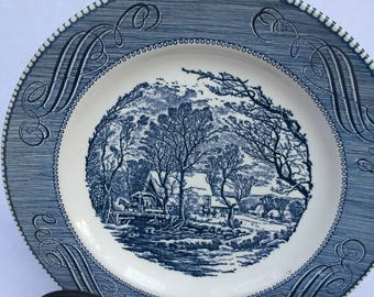Vintage Currier and Ives plate, Royal china, 1950's, serving plate, cake plate, the old gristmill