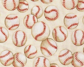 Baseball in Natural By The Alexander Henry Fabric Collection 1 yard Cotton Fabric