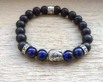 Buddha beaded Bracelet, Men bracelet, Mens bracelet, Women bracelet, Zen bracelet, Tiger eye beads, Holiday gift, Men gift, Beaded