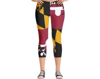 MD Leggings / Maryland / Leggings / Yoga Pants / Womens Leggings / Capri / Capri Pants / Capri Leggings / Fitness Apparel / Gym Gear