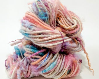 Super Bulky Yarn, Chunky Yarn, Handspun Art Yarn, Handspun Yarn, Pink White, Knitting, Weaving, Crochet, Mixed Media, Art Yarn - HIP HOP