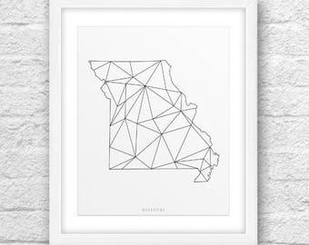 Missouri Map, Missouri Print, Missouri Art, Missouri State, Missouri MinimalDesign, Missouri Printable,Instant Download, ModernArt, Missouri