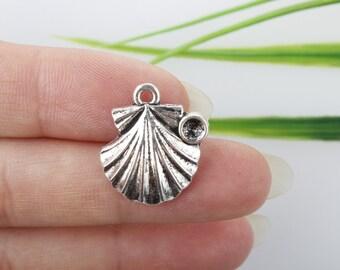 Own Charm~ Silver Sea Shell Charms, Silver Shells, Shell Charms, 15X14m