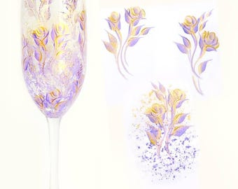 12 Hand Painted Bridesmaids Glasses - Lavender, Gold Roses, Personalized - Custom Bachelorette Stemless Champagne Flutes