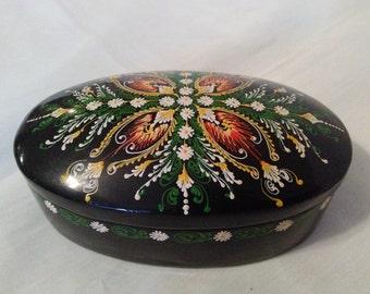 trinket box lacquerware paper mache jewelry box russian handpainted box