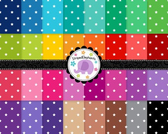 Colorful Star Digital Paper Pack Bright, Star Digital Scrapbook Paper, Stary Digital Background, Commercial Use