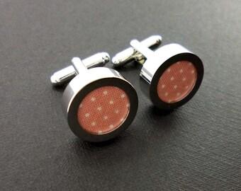 Mens peach coral cuff links - 2nd cotton anniversary gift – groom or groomsmen pin dot wedding cufflinks present – mans accessories