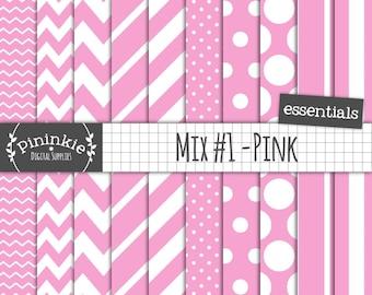Pink Polka Dot Paper, Pink Chevron Digital Paper, Crafts Cardmaking & Scrapbooking, Instant Download